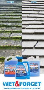 Stuck with stubborn moss on your roof? Clean it up with a quick application of Wet & Forget Hose End! No scrubbing or rinsing needed.