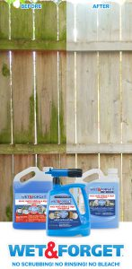 Clean your fence without any scrubbing! Wet & Forget's bleach free formula makes fence cleaning easy.
