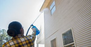 Woman applying Wet & Forget to siding.