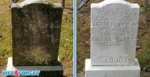 Clean up black stains on headstones with Wet & Forget