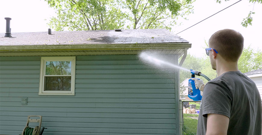 clean gutters and eaves with wet and forget