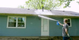 clean gutters with Wet & Forget Hose End