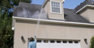 Cleaning eaves with Wet & Forget