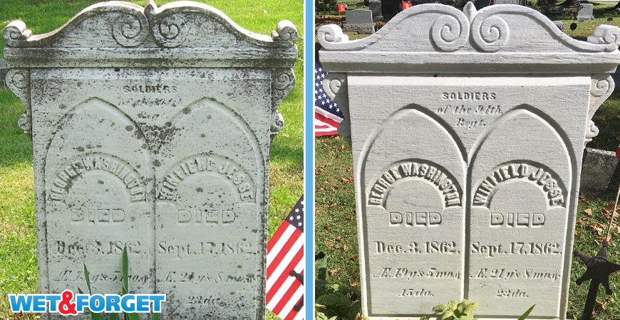 before and after gravestone