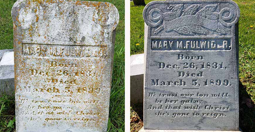 Clean up mold and mildew on gravestones with Wet & Forget