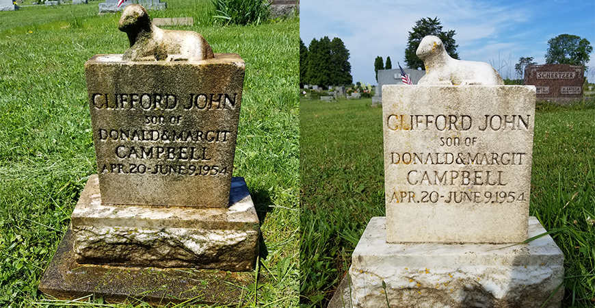 Before and After Cleaning Tombstones With Wet & Forget