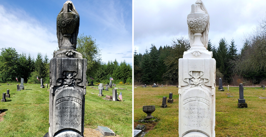 Before and After Using Wet & Forget on Headstone