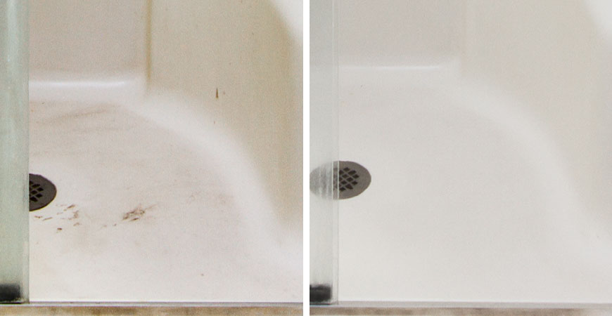 Clean fiberglass shower surfaces with Wet & Forget Shower.
