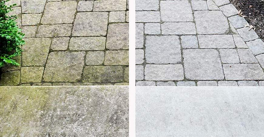 Patio cleaner before and after using Wet & Forget